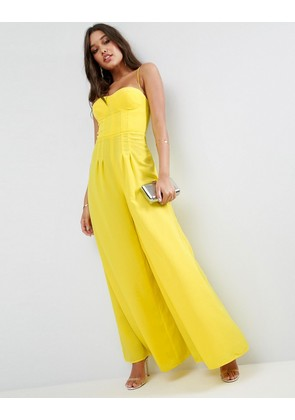 ASOS Premium Jumpsuit with Structured Bodice and Super Wide Leg - Yellow