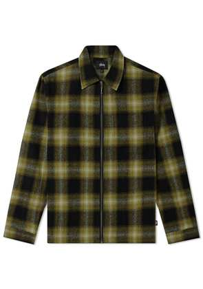 Stussy Zip Up Shadow Plaid Shirt Green