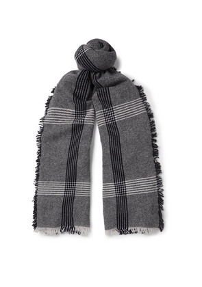 Begg & Co - Beaufort Fringed Checked Wool And Cashmere-blend Scarf - Black