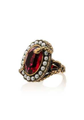 Alexander McQueen metallic snake jewel faux pearl ring - Gold