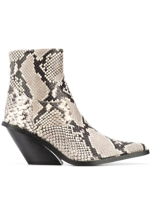 Gia Couture python print ankle boots - Black