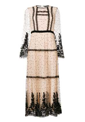 Ermanno Ermanno point d'esprit and lace maxi dress - Neutrals