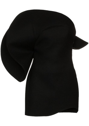Saint Laurent oversized flounce bustier wool dress - Black