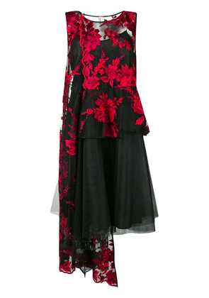 Antonio Marras sheer floral asymmetric dress - Black