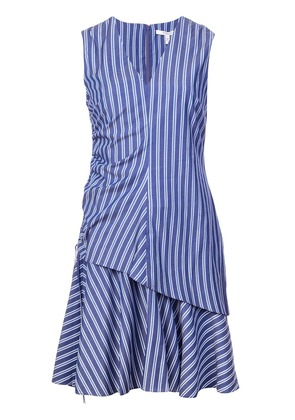 Derek Lam 10 Crosby Sleeveless V-Neck Ruched Dress - Blue