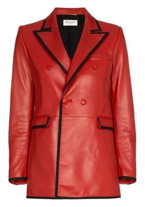 Saint Laurent double breasted leather blazer - Red