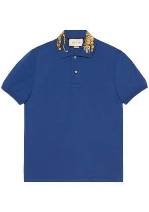 Gucci Cotton polo with tiger embroidery - Blue