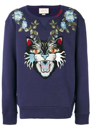 Gucci Angry Cat and floral appliqué sweatshirt - Blue