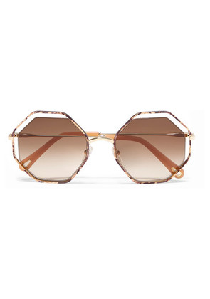 Chloé - Poppy Octagon-frame Snake-effect Acetate And Gold-tone Sunglasses - one size