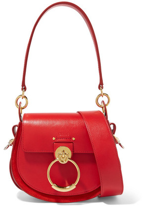 Chloé - Tess Small Leather And Suede Shoulder Bag - Red