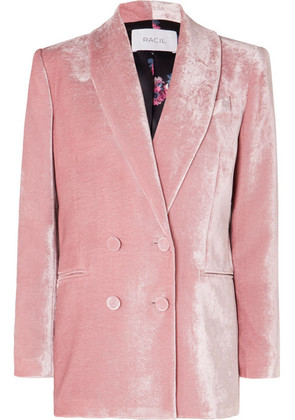 Racil - Gloria Double-breasted Velvet Blazer - Blush