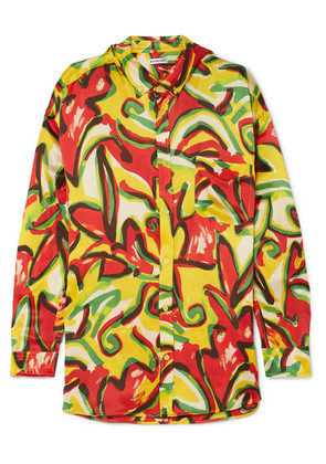 Balenciaga - Oversized Printed Silk-crepon Blouse - Yellow