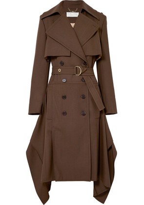 Chloé - Double-breasted Wool-gabardine Trench Coat - Brown