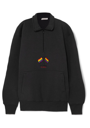 Balenciaga - Oversized Embroidered Cotton-blend Jersey Sweatshirt - Navy
