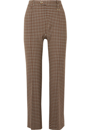 Chloé - Cropped Checked Woven Straight-leg Pants - Brown