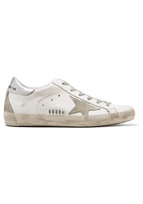 Golden Goose Deluxe Brand - Superstar Distressed Metallic Leather And Suede Sneakers - White
