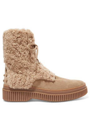 Tod's - Logo-embroidered Shearling And Suede Ankle Boots - Light brown