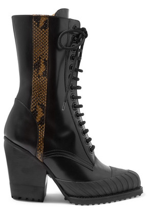 Chloé - Rylee Snake-effect Leather-trimmed Glossed-leather Ankle Boots - Black