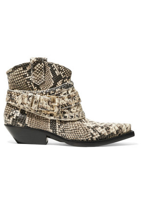 Zimmermann - Snake-effect Leather Ankle Boots - Snake print