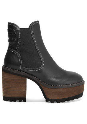 See By Chloé - Erika Leather Platform Ankle Boots - Black