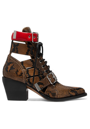 Chloé - Rylee Cutout Snake-effect Leather Ankle Boots - Snake print