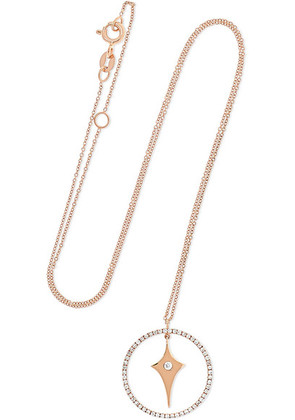 Diane Kordas - Shield Charm 18-karat Rose Gold Diamond Necklace - one size