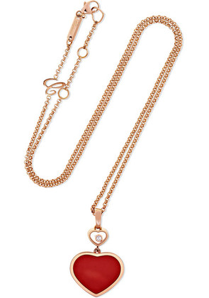 Chopard - Happy Hearts 18-karat Rose Gold, Diamond And Red Stone Necklace - one size