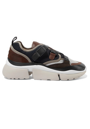Chloé - Sonnie Canvas, Mesh, Suede And Leather Sneakers - Navy
