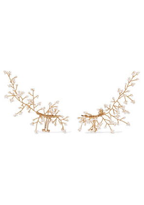 14 / Quatorze - Baby's Breath Gold-plated Pearl Ear Cuffs - White