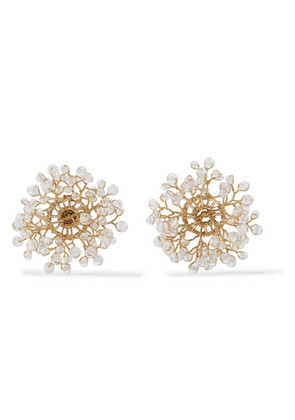 14 / Quatorze - Dewdrop Gold-plated Crystal Earrings - White