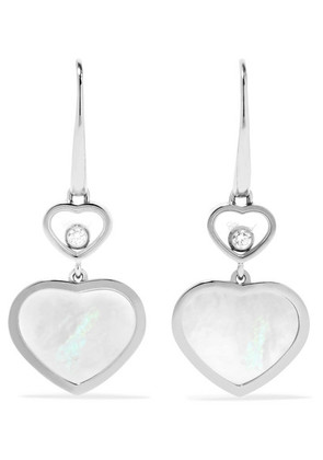 Chopard - Happy Hearts 18-karat White Gold, Diamond And Mother-of-pearl Earrings - one size