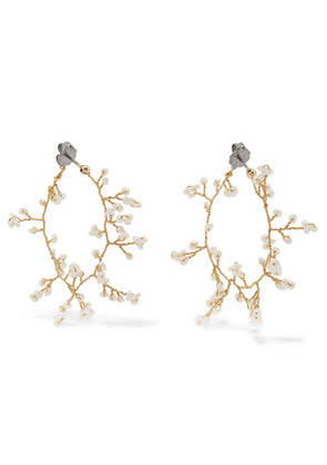 14 / Quatorze - Baby's Breath Gold-plated Pearl Earrings - White
