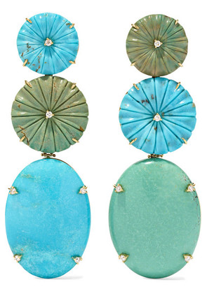 Casa Castro - 18-karat Gold, Turquoise And Diamond Earrings - one size