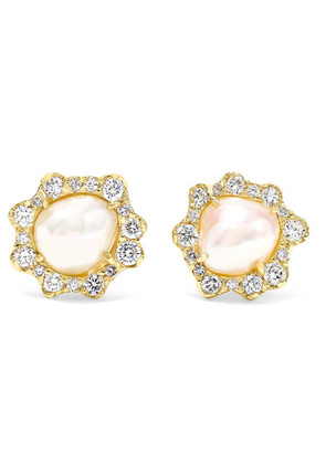 Kimberly McDonald - 18-karat Gold, Pearl And Diamond Earrings - one size
