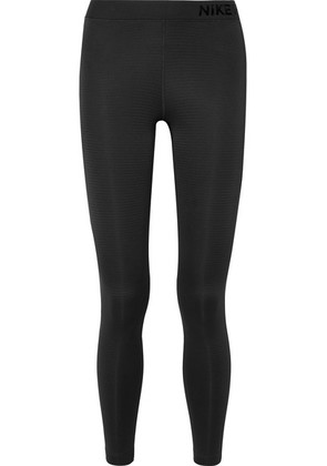 Nike - Pro Warm Mesh-paneled Stretch Leggings - Black