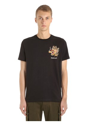 DRAGON EMBROIDERED COTTON JERSEY T-SHIRT
