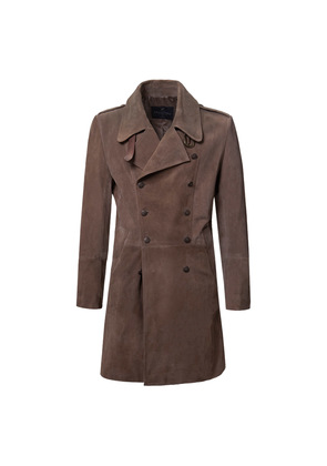 Cromford Leather Company Chocolate Brown Eastwood Double-Breasted Suede Coat
