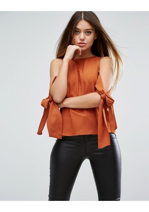 ASOS Cold Shoulder Top With Tie Sleeve - Ginger