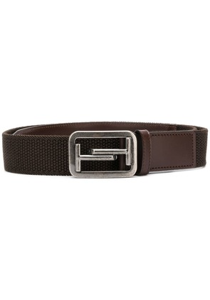 Tod's leather trim belt - Brown