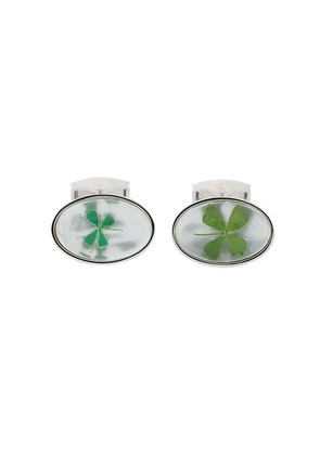 Tateossian Lucky Clover cufflinks - White