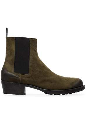 Haider Ackermann green distressed suede leather chelsea boots