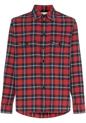 Gucci Paramount print checked cotton shirt - Red