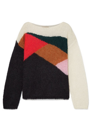Burberry - Oversized Color-block Mohair And Silk-blend Sweater - Black