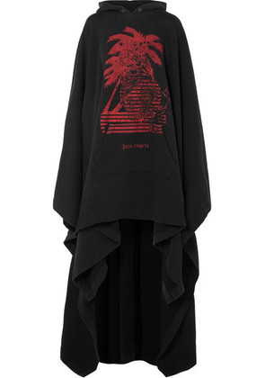 Palm Angels - Oversized Printed Cotton-terry Hooded Cape - Black