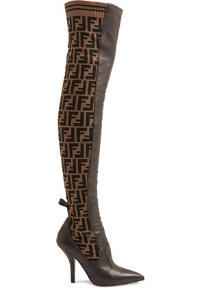 Fendi - Rockoko Logo-jacquard Stretch-knit And Leather Over-the-knee Boots - Brown