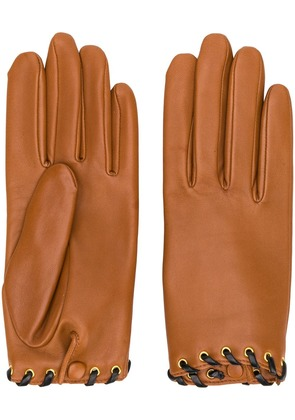 Agnelle leather gloves - Brown