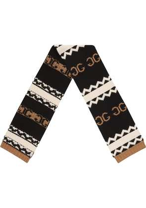 Gucci knitted mirrored GG scarf - Black