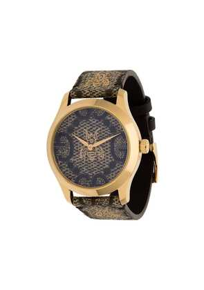 Gucci G-Timeless logo print bee motif watch - Brown