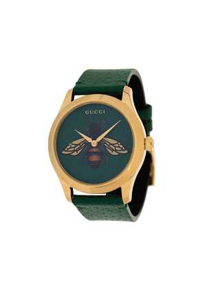 Gucci G-Timeless bee print leather watch - Green