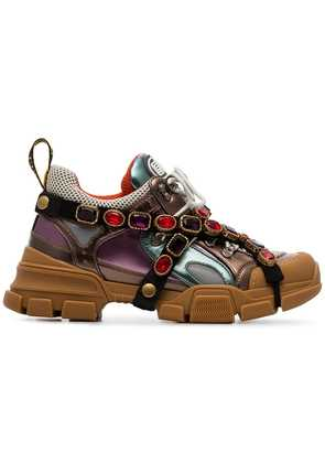 Gucci multicoloured metallic flashtrek removable crystal sneakers